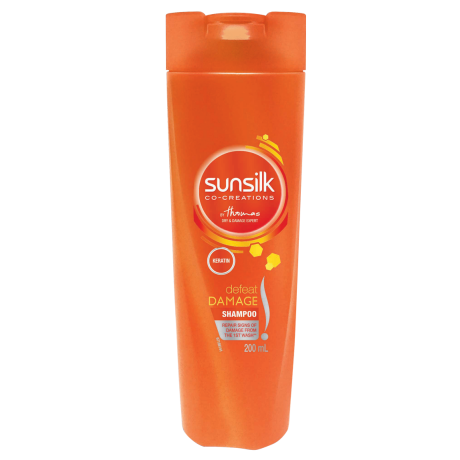 A 200ml bottle of Sunsilk Defeat Damage Shampoo front of pack image